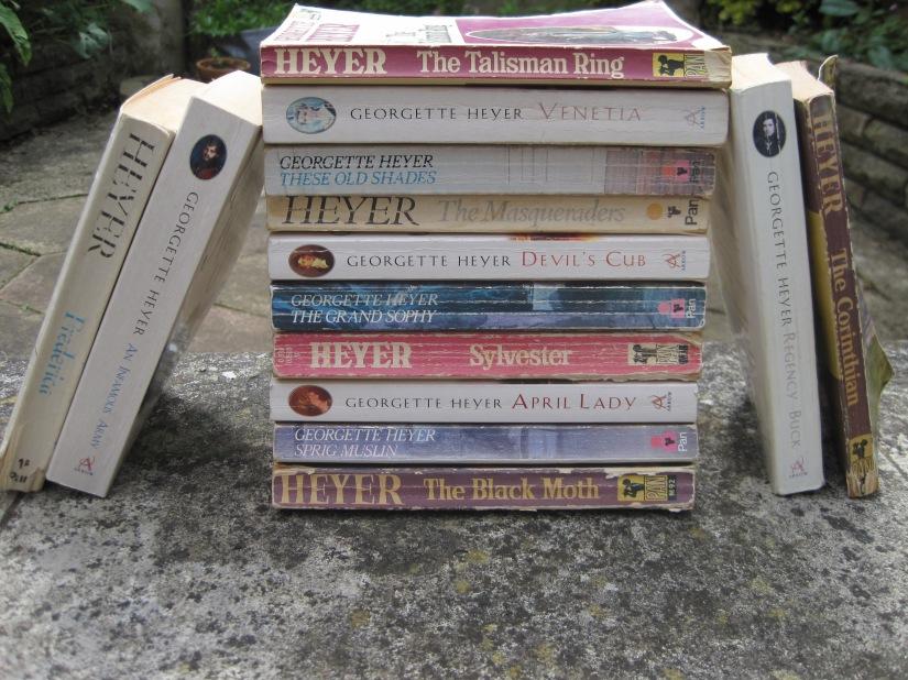 Artistically arranged Heyer novels