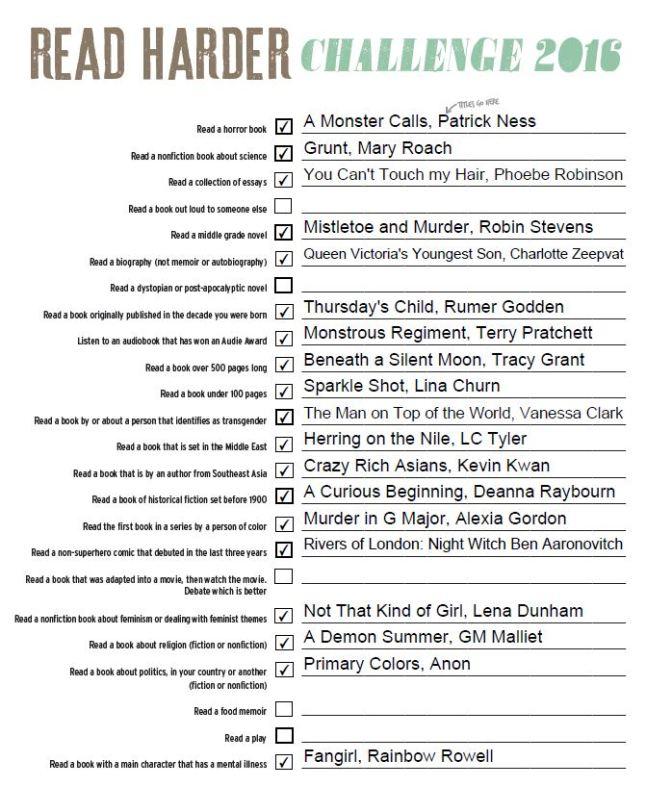 My #ReadHarder 2016 list