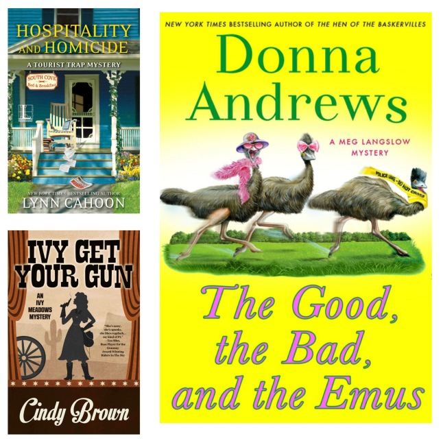 covers of three cozy crime books