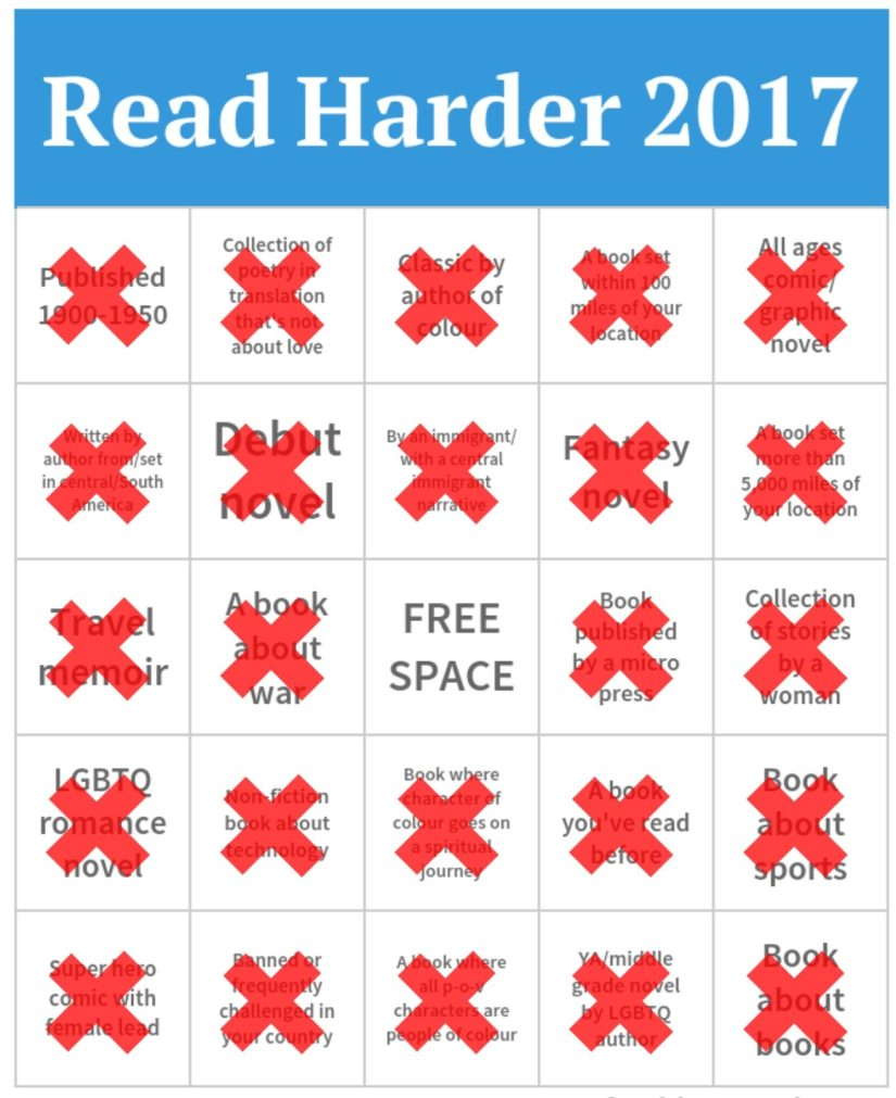 Read Harder Bingo card with all the squares crossed off