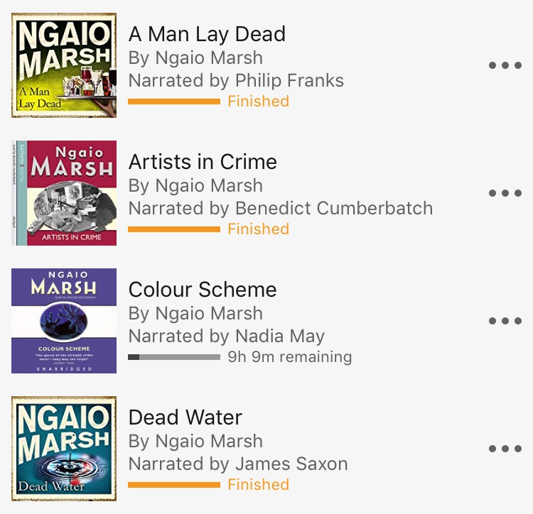 Audible screengrab showing Ngaio Marsh novels