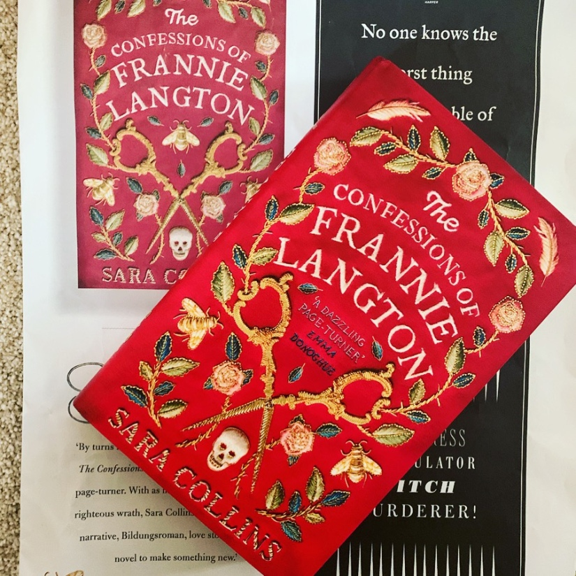 Hardback copy of The Confessions of Frannie Langton and promotional mini-newspaper