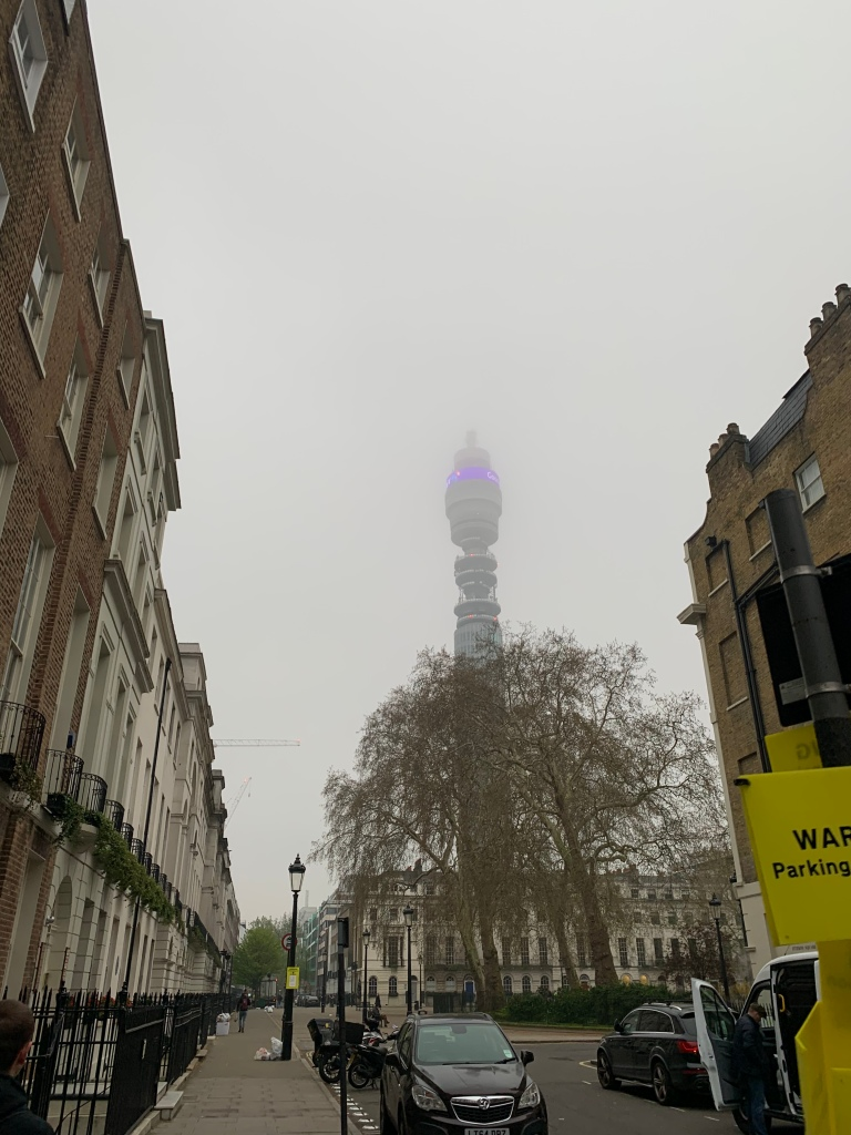 View of the BT tower and Fitzroy Square