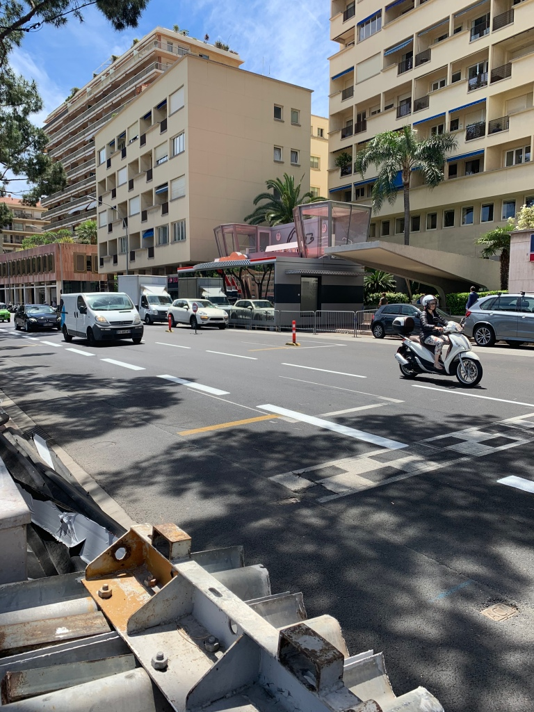Finish line, pole position marker and podium pavillion in Monte Carlo.