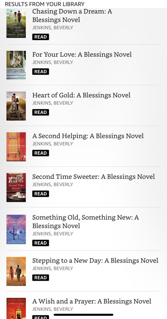 Screen grab of blessings book covers marked as read