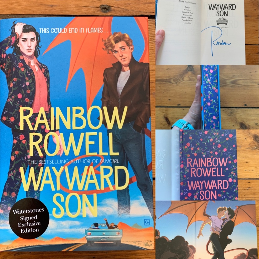 collage of pictures of signed hardcover Wayward Son - with flowery edges, flowery cover under the dustjacket and lovely endbards