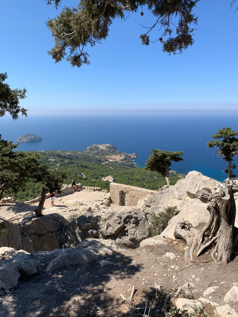 A view of the sea from high on a mountain on Rhodes