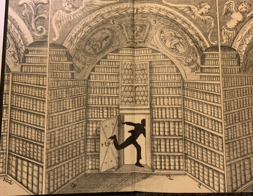 Endpapers showing a library