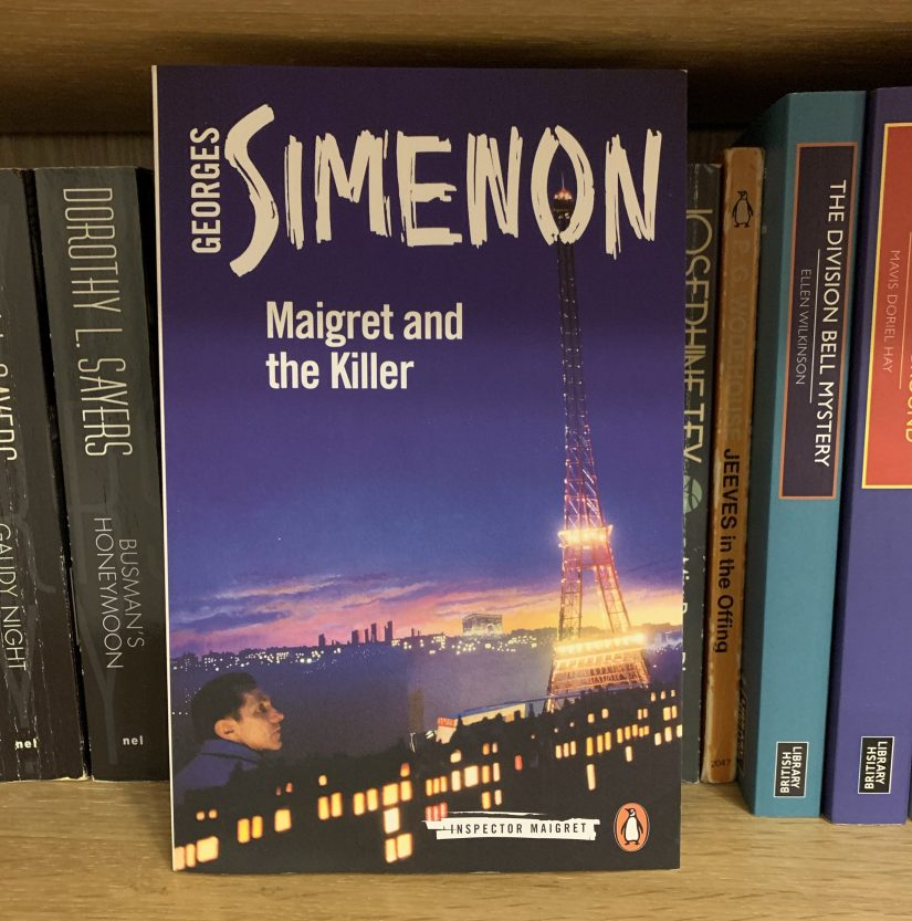 Copy of Maigret and the Killer on a bookshelf