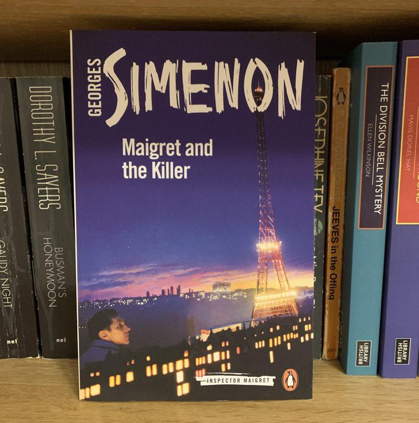 Copy of Maigret and the Killer on a bookshelf