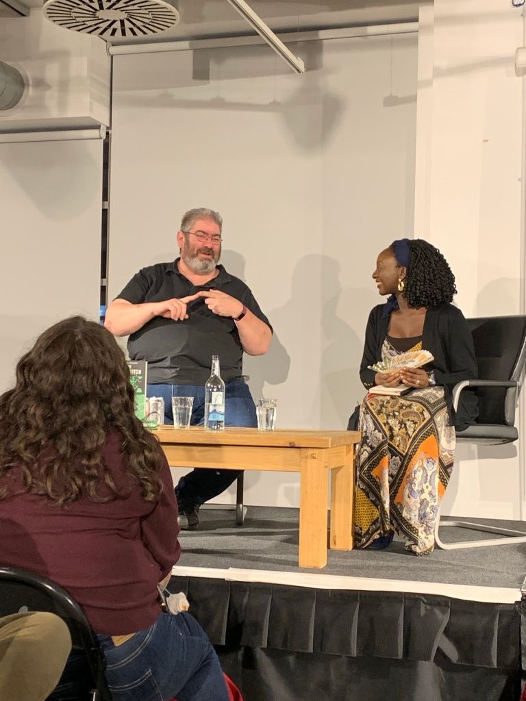 Ben Aaronovitch talking to Temi Oh at the Foyles event for False Value