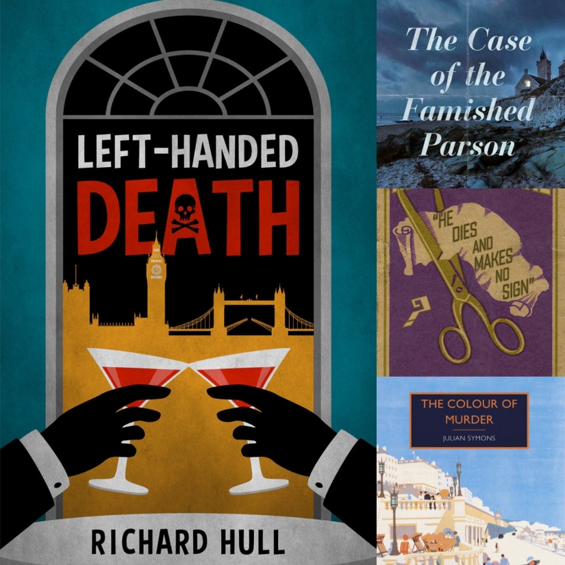 Covers of Left-Handed Death, The Case of the Famished Parson, He Dies and Makes No Sign and The Colour of Murder