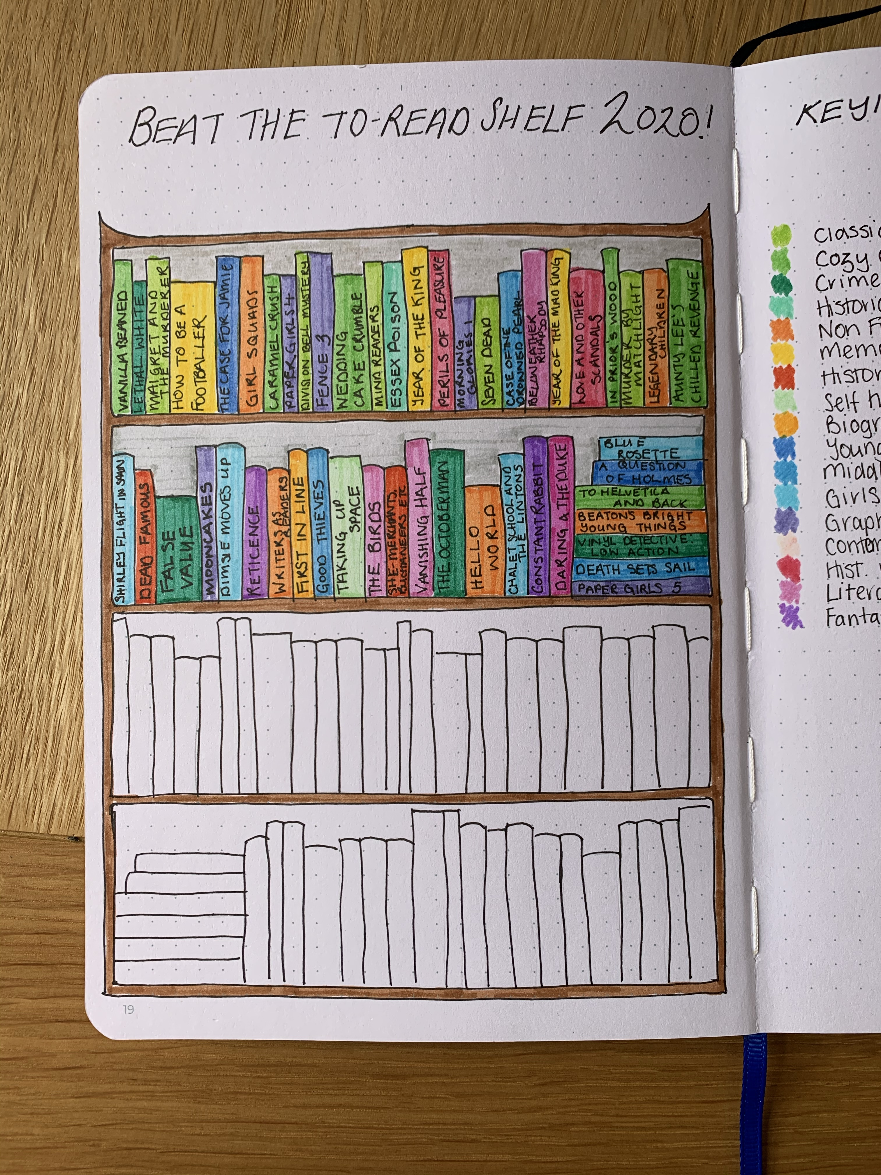 Drawing of a bookshelf with books on half the shelves coloured in