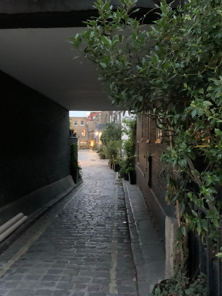 London mews close, with cobbles