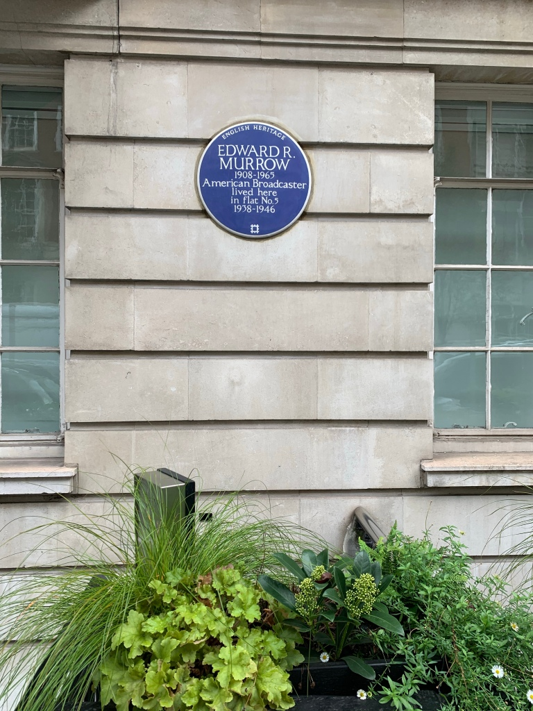 Blue plaque on a wall commemorating Edward R Murrow