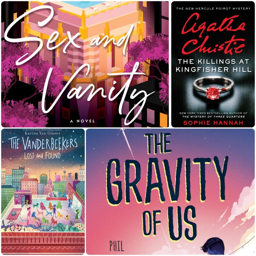 Collage of covers: Sex and Vanity, Killings at Kingfisher Hill, Vanderbeekes lost and found and The Gravity of Us