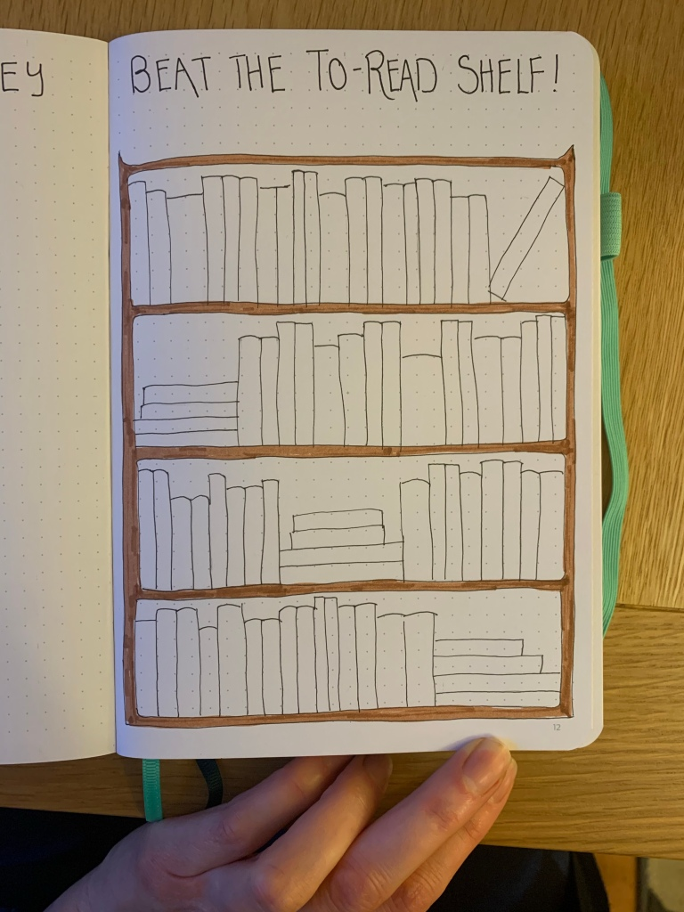 Drawing of a bookshelf full of lots of blank books