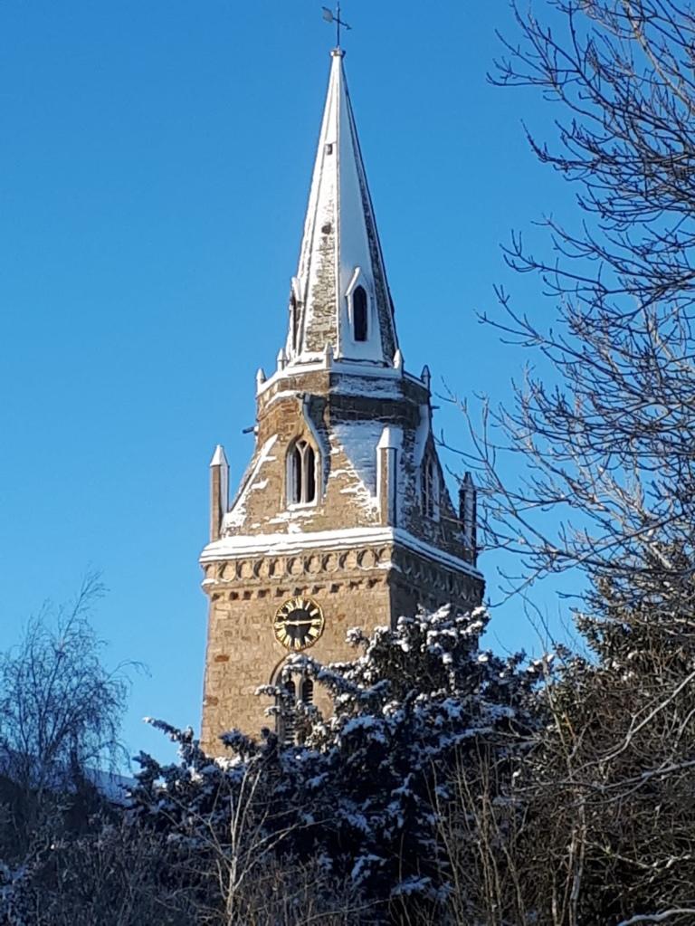 A snowy church steeple
