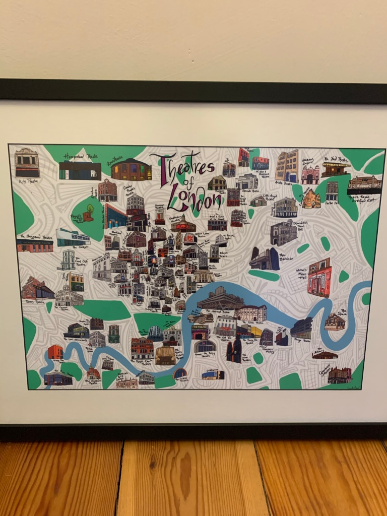 An illustrated map of London Theatres.