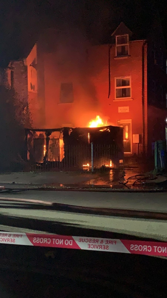 Fire at an electricity substation