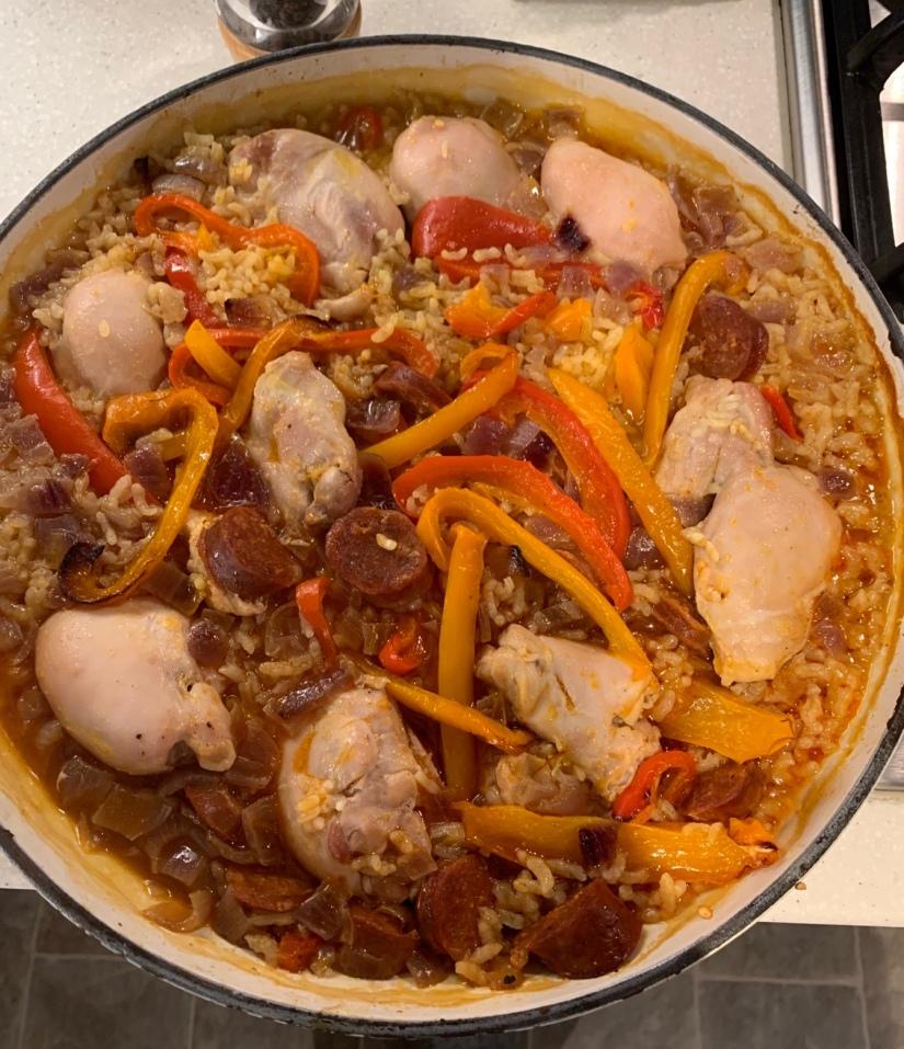 Casserole full of paella