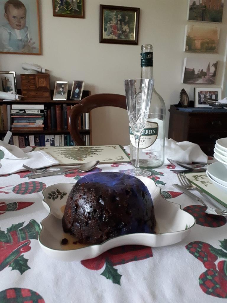 A flaming Christmas pudding