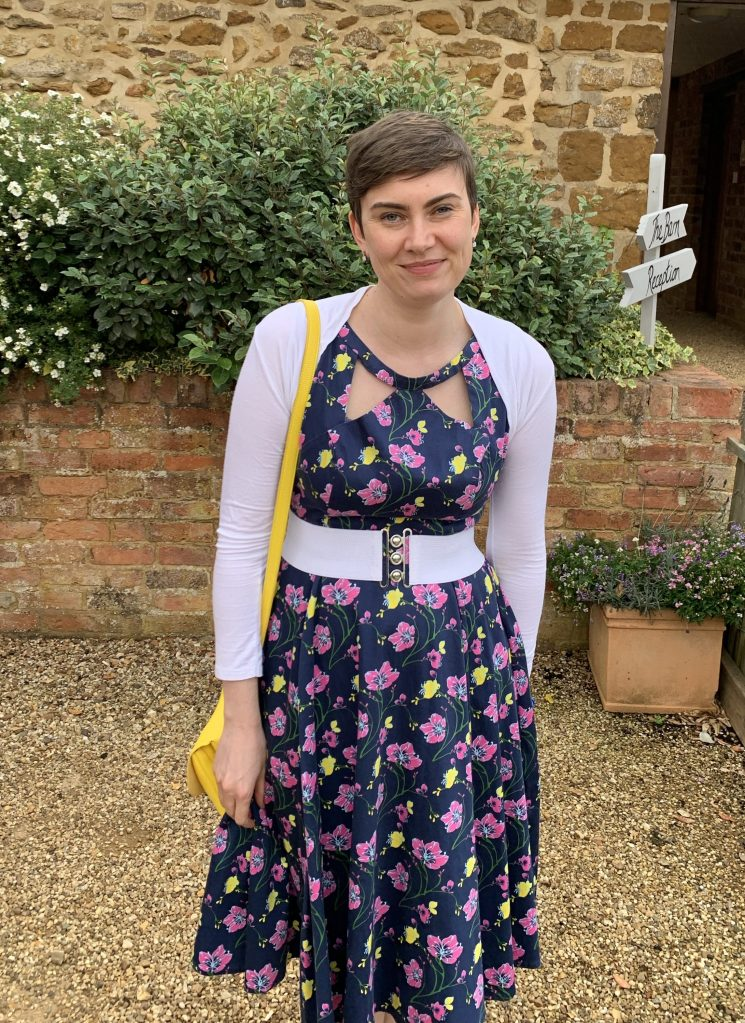 Verity (me) in a pretty dress for a wedding!